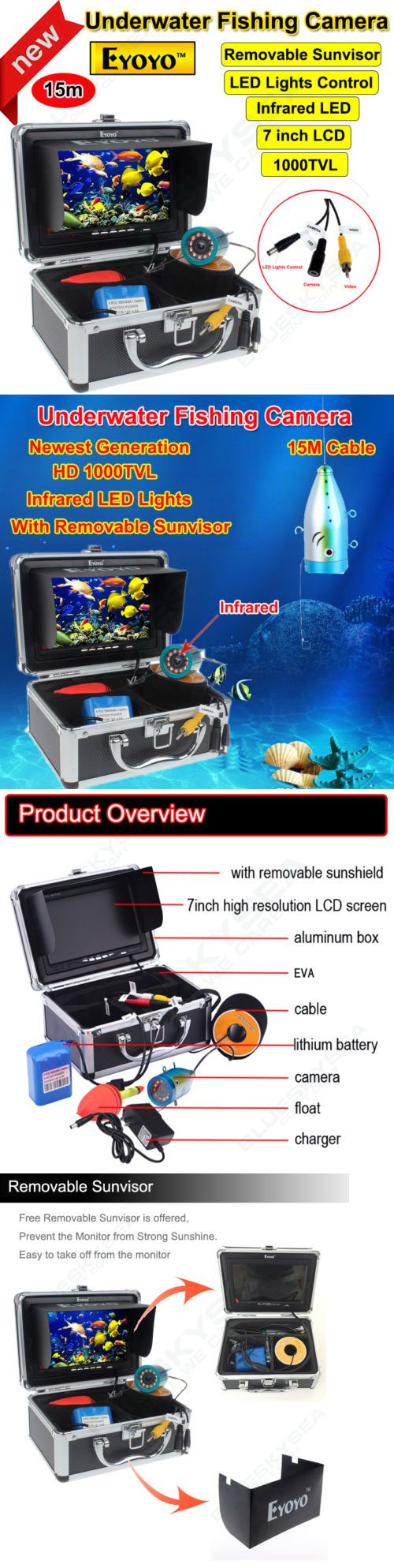 Underwater Cameras 180000: Eyoyo 7 Lcd 15M Infrared 1000Tvl Fish Finder Underwater Fishing Camera Monitor BUY IT NOW ONLY: $121.88
