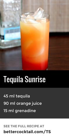 "The Tequila Sunrise is a classic tropical cocktail perfect for summer. The main spirit of the drink is tequila and is combined with orange juice and a touch of grenadine, which gives the drink its unique ""sunrise"" gradient of orange to red. The Tequila Sunrise is commonly served in a collins glass with a slice of orange and a cherry to garnish."