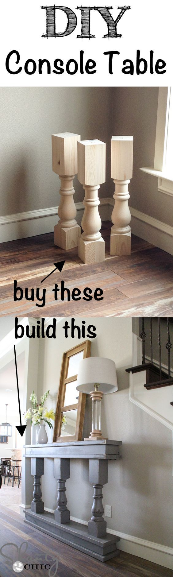Easy DIY Console Table - very cool, especially for a narrow entry way