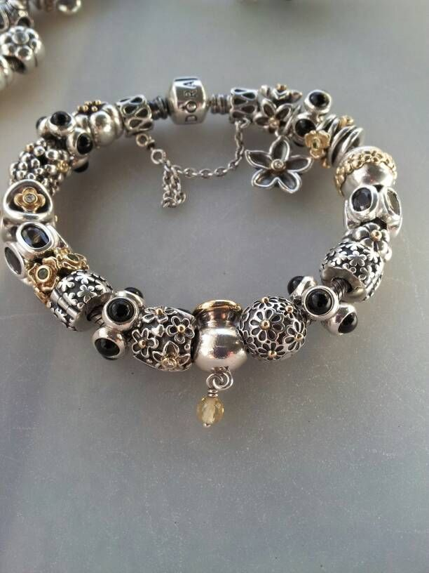 Two Tone With Black Accents Pandora Pinterest Jewelry And Bracelets