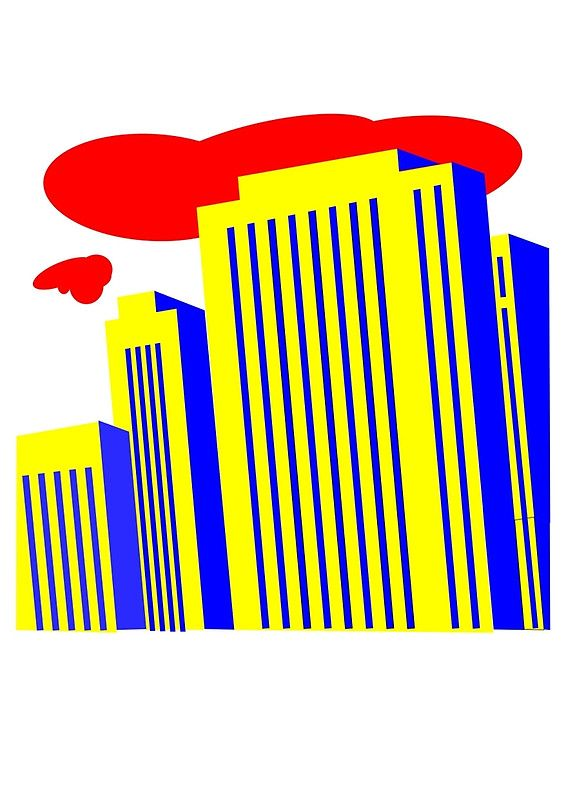 yellow skyscrapers