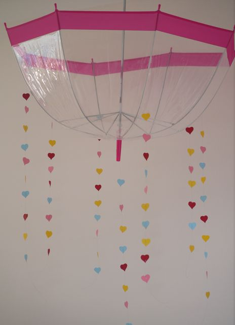 Fun umbrella decor at a Peppa Pig party!  See more party ideas at CatchMyParty.com!  #partyideas #pig