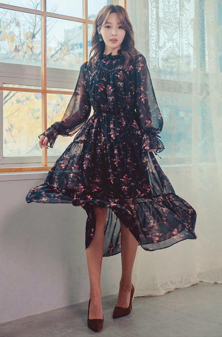 Ruffled Neck Floral Dress Floral Dress Fashion Feminine Dress Fashion