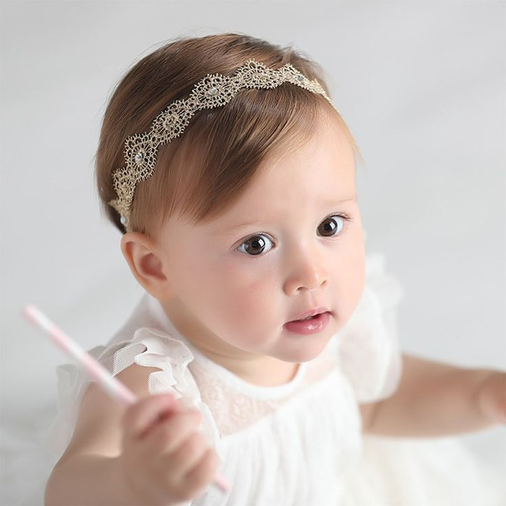 RQJ Baby Girl Stretchy Diamond Gold Headbands Lace Flower Princess Hair Crown Wreath for Infant Girl Head Band >>> You can find out more details at the link of the image. #hairoftheday