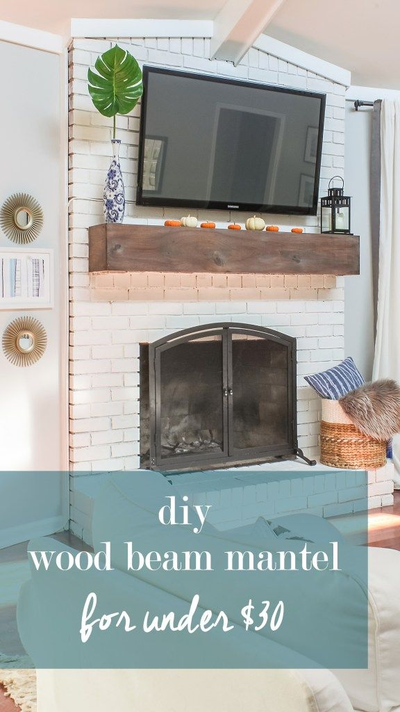 wood beam mantel diy. See how I added a wood beam mantel to my brick fireplace for under $30.