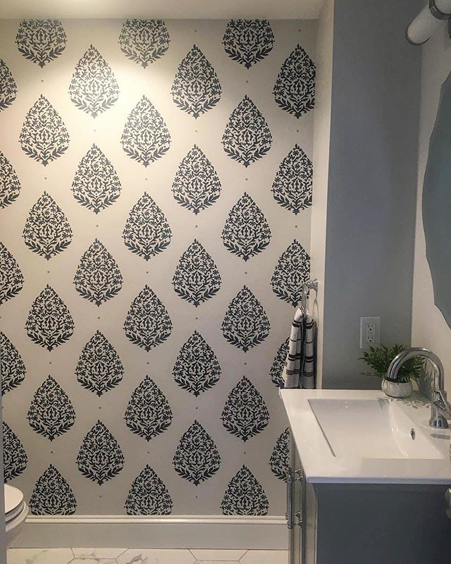 Diy Painted And Stenciled Bathroom Wall Makeup Ideas On A Budget Using Easy To Use Wall Stencil P Wall Stencil Bathroom Stencils Wall Stencil Painting On Walls
