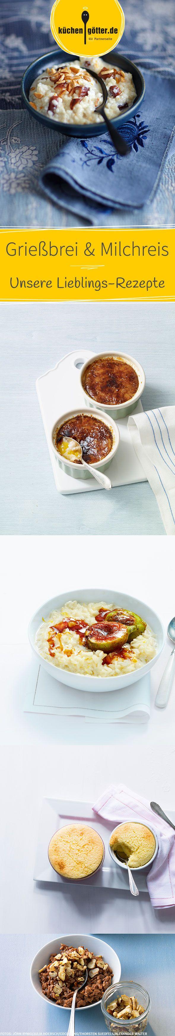 Pures Soulfood! Mit unseren süßen Rezepten für Grießbrei und Milchreis könnt ihr euch ganz bequem auf die Couch setzen und jeden Löffel genüsslich genießen.