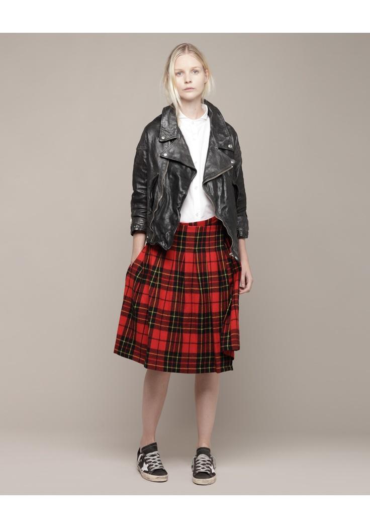Y's by Yohji Yamamoto Wing Collar Shirt, Limi Feu Tartan Waist Tuck Wrapped Skirt & Golden Goose Road Jacket & sneaker
