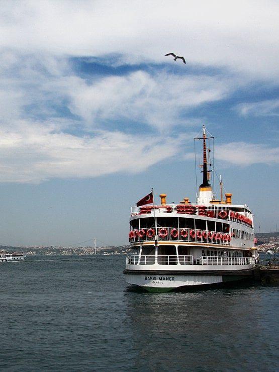 Le détroit du Bosphore, qui relie la mer Noire à la mer de Marmara, est une véritable avenue maritime d'une trentaine de kilomètres de long sur une largeur de 500 à 3000 mètres. Les eaux de ce chenal bleu sont sillonnées par de nombreux navires qui représentent l'un des trafics maritimes les plus denses au monde. #photographie #voyage #turquie