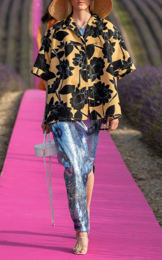 Jacquemus La Chemise Vallena Floral Oversized Button Down Shirt