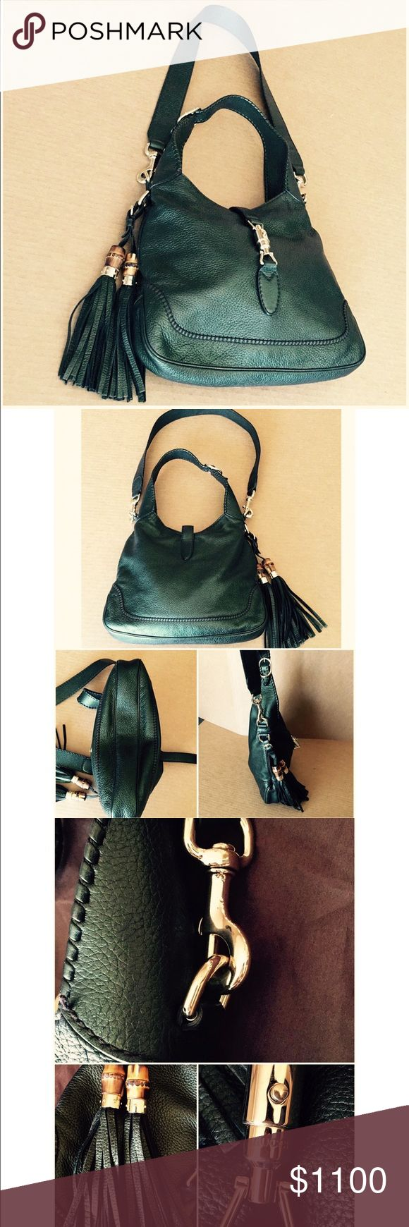 """‼️PROCE DROP‼️Gucci """"New Jackie"""" Hobo bag Pristine condition. Rare metallic green medium size """"NewJackie"""" hobo with signature tassels and gold hardware. Measures 14x12x2"""" Comes with Gucci dust bag. Gucci Bags Hobos"""