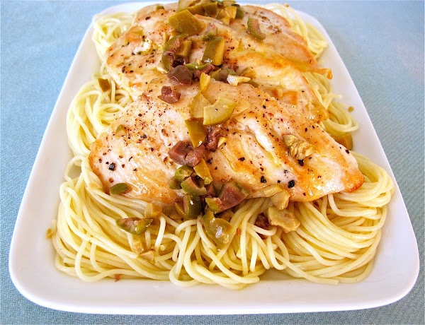 Chicken with Olives and Angel Hair Pasta: Chicken Recipes, Recipes Chicken, Yummy Food, Hair Pasta, Angels, Angel Hair, Steffen Hobick, Jenny Steffen, Recipe Chicken