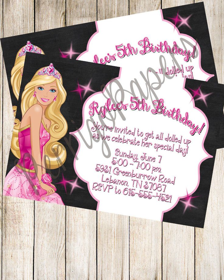 indianjones birthday party invitations%0A Custom Digital Barbie   Pink Chalkboard Sparkle   Birthday Party   Printed   Printable Invitation by