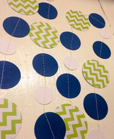 Lime green and navy blue chevron Paper Garland Birthday Party Decor, Baby Shower Decor, Nursery Decoration with Navy Blue Accents on Etsy, $7.50
