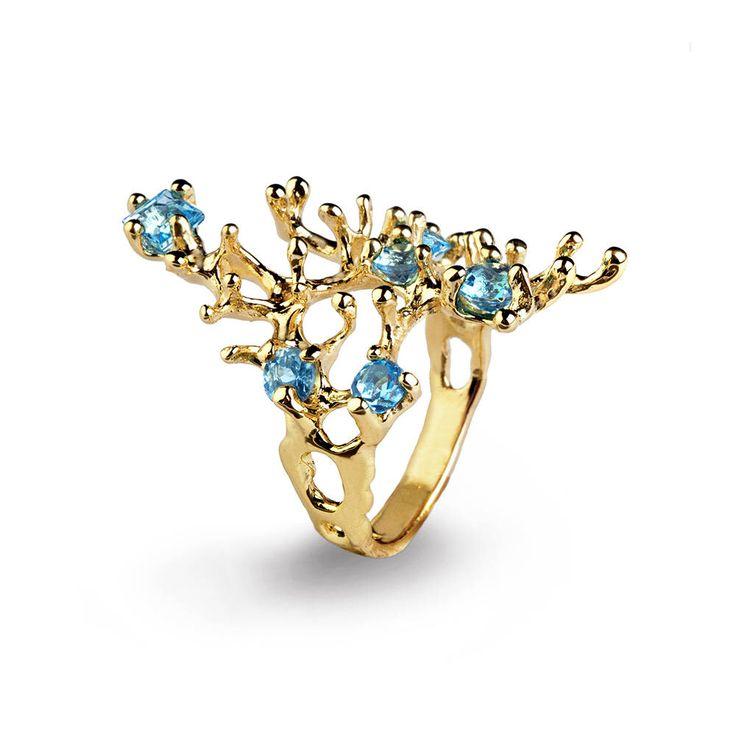 Barriera corallina anello topazio azzurro oro 14k, topazio azzurro oro anello di fidanzamento, organico anello d'oro, dichiarazione oro anello, anello di pietra preziosa oro di arosha su Etsy https://www.etsy.com/it/listing/245689243/barriera-corallina-anello-topazio