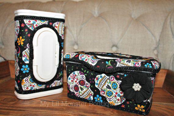 Sugar Skull wipe case/ custom wipe case/ by MyLilMonsterBoutique