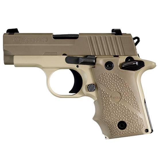 SIG Sauer P238 Desert Semi Automatic Pistol .380 ACP 2.7 Barrel 6 Rounds Hogue Rubber Grips Desert Tan Finish 238-380-DES