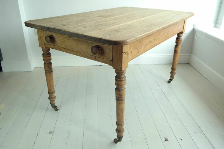 Victorian antique rustic pine dining kitchen table with Dining table with drawer