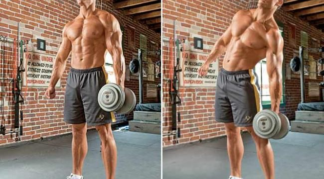 Lose Your Love Handles With the Dumbbell Side Bend....obviously not that excessive amount of weights for girls....