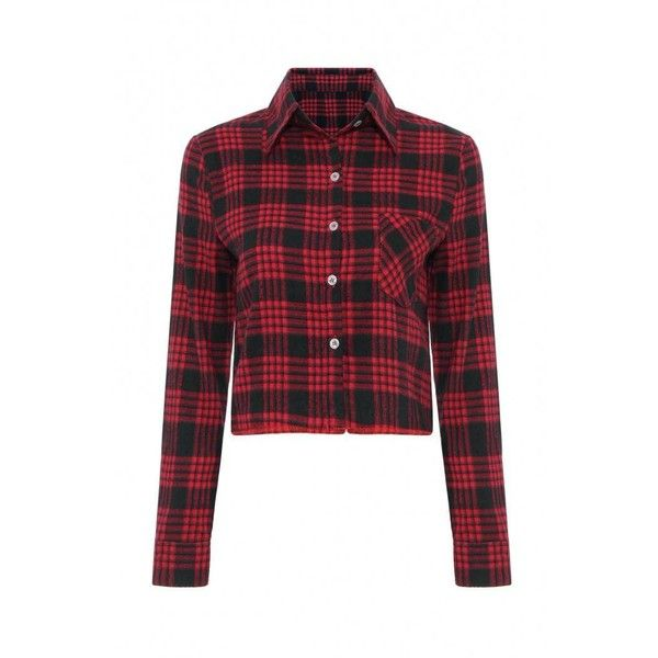 Yoins Yoins Long Sleeve Check Crop (£13) ❤ liked on Polyvore featuring tops, red, shirts & tops, basic tee shirts, checkered shirt, crop shirts, crop top and basic t shirt