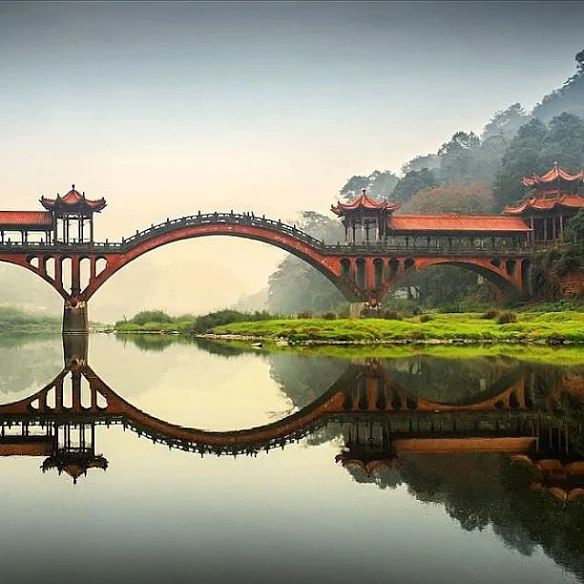 A bridge near the Leshan Giant Buddha Statues Grottoes in Sichuan province, China