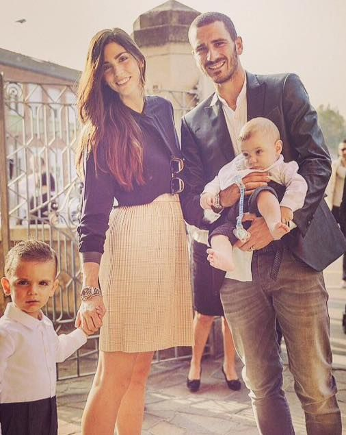 Leonardo Bonucci (from Juventus FC) in a Maison Lvchino eco-leather smoking jacket and his beautiful family.