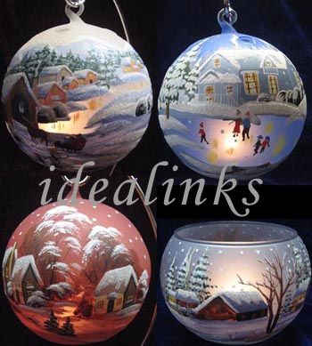PICTURES OF HAND PAINTED CHRISTMAS DECORATIONS | Hand Painted Christmas Glass Balls / Votive / Candle Holder ( Hand ...