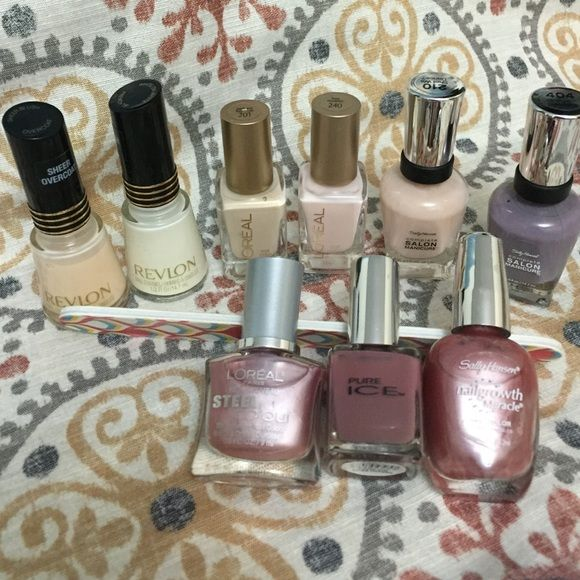 Nail Polish Lot - subtle nudes bundle! Lot of 9 nearly new polishes in neutral, blush, taupe, pink and nude tones. Includes a Revlon French manicure set, three L'Oreal, one Pure Ice and three Sally Hansen. Each has been used a handful of times, maximum. I am willing to separate these but the minimum I will sell is 3 for 8 or 4 for 10. L'Oreal Makeup