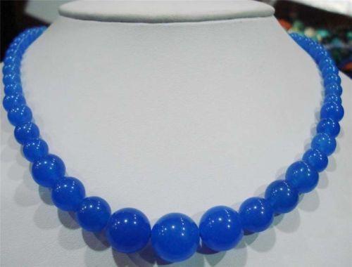 Очаровательная бесплатная доставка 6-14 мм голубой топаз круглые бусины полудрагоценный камень яшма чокеры ожерелье для женщин партия подарков 18 BV44