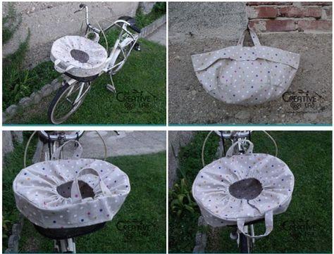 Come cucire un copri cestino in stoffa per la bicicletta. Dotato di coulisse e di manici si può staccare velocemente e portare con se come una borsa.