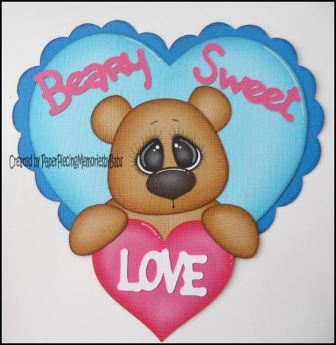 Premade Valentine Beary Sweet Love Piecing for Scrapbook Page by Babs | eBay