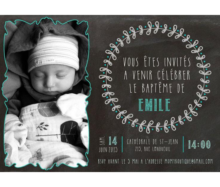Carte d'invitation baptême - personnalisée_baptême fille ou garçon, bleu aqua, rose, invitation, ardoise de la boutique MOMYboutique sur Etsy