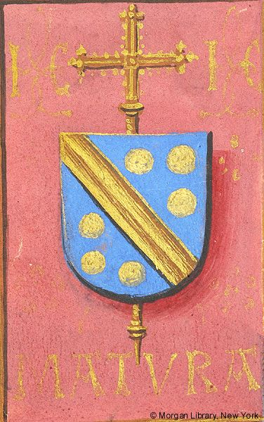 Escutcheon with arms of Jean Carondelet (azure a fasce and six bezants or en orle, an archiepiscopal cross in pale beneath the shield) | Book of Hours | Belgium, Bruges | ca. 1500 | The Morgan Library & Museum