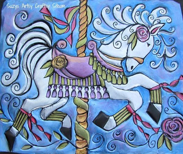 Embossed Metal Carousel Horse- free pattern!