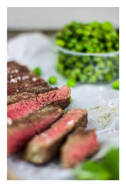 Steak & minted peas