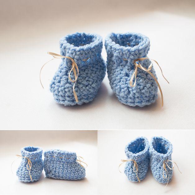 Crochet blue baby boots