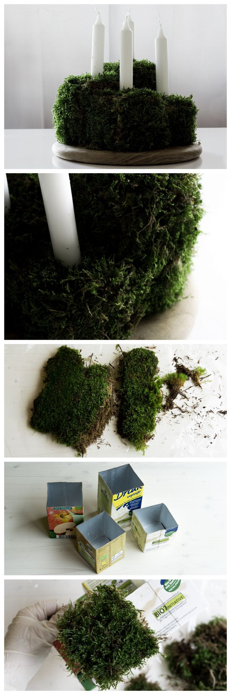 DIY kubischer Upcycling Adventskranz aus Moos und Getränkekartons in skandinavischem Stil || DIY cubic scandinavian style upcycling advent wreath made of moss and beverage cartons