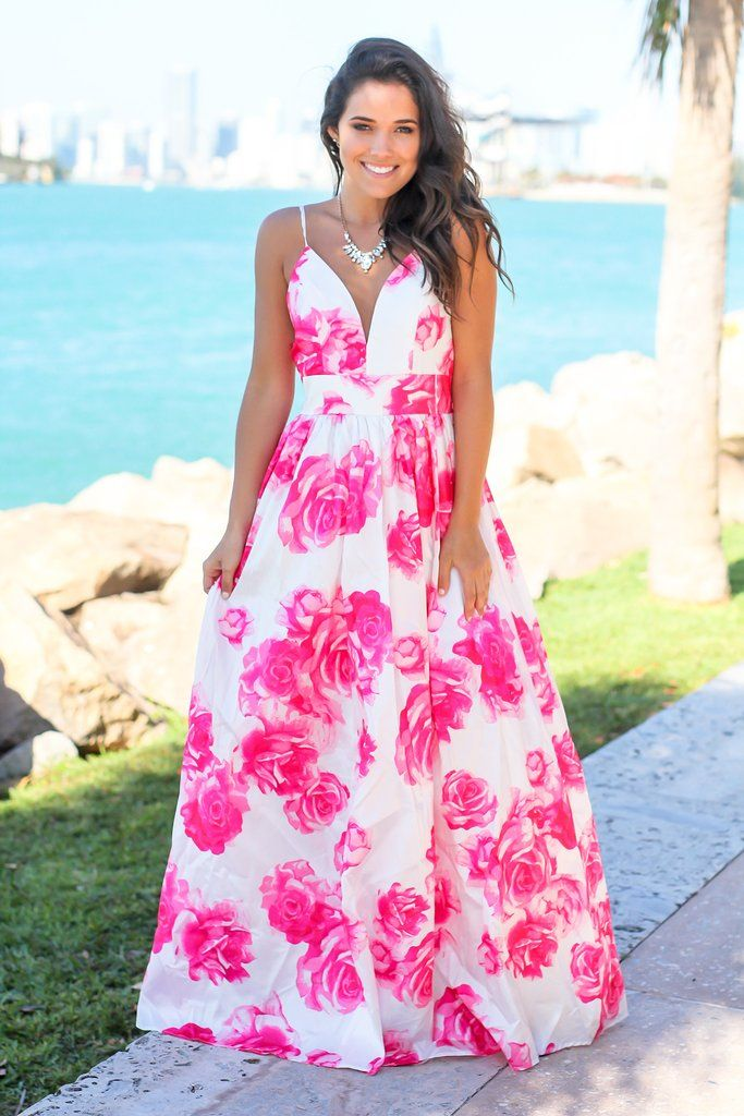 fe161d4297a Ivory and Fuchsia Floral Maxi Dress with Criss Cross Back in 2019 ...