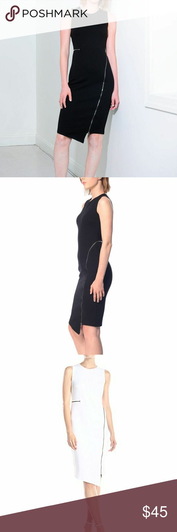 Bailey 44 ringmaster L Ponte sheath dress NWOT A slinky exposed zipper wraps around the waist and down to the hem of an edgy, figure-forming sheath dress. NWOT beautiful rare black Bailey 44 asymmetric front Bailey 44 Dresses Asymmetrical