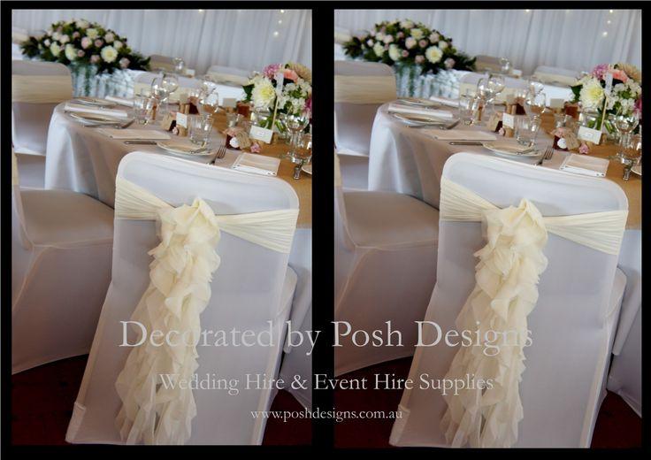 #weddingsashes #ivorysashes #ruffledsashes #theming available at #poshdesignsweddings - #sydneyweddings #southcoastweddings #wollongongweddings #canberraweddings #southernhighlandsweddings #campbelltownweddings #penrithweddings #bathurstweddings #illawarraweddings  All stock owned by Posh Designs Wedding & Event Supplies – lisa@poshdesigns.com.au or visit www.poshdesigns.com.au or www.facebook.com/.poshdesigns.com.au #Wedding #reception #decorations #Outdoor #ceremony decorations