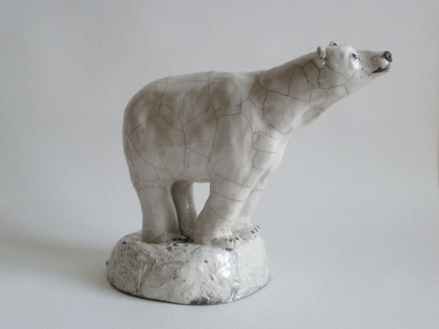 Raku sculpture - polar bear on ice