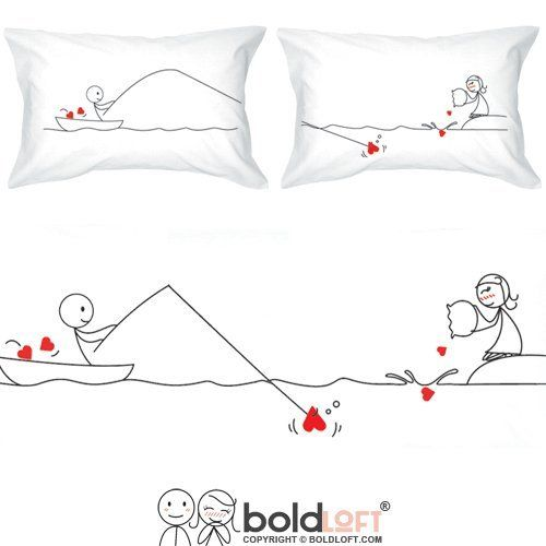 BOLDLOFT From My Heart to Yours Couples Pillowcases- Couples Gifts, Couples Gifts for Christmas, Christmas Gifts for Girlfriend, His and Hers Gifts, Wife Gifts, Cotton Anniversary Gifts for Her
