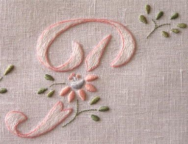 Hand embroidered monogram - P