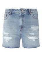 Womens Blue Mid Wash Ripped Denim Shorts- Blue