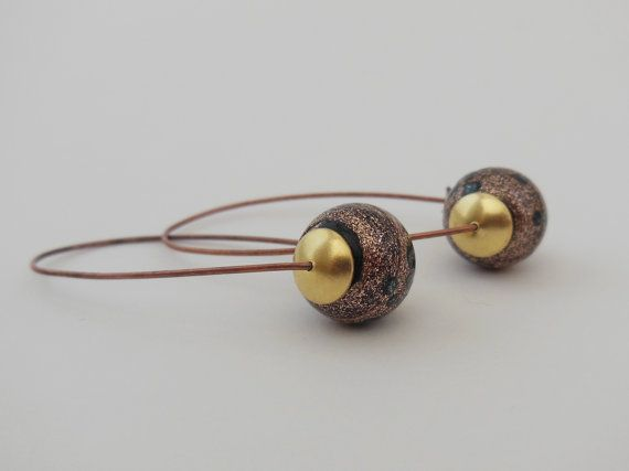 Hand made glass beads in bronze suspended on by LeelysBeads, €10.00