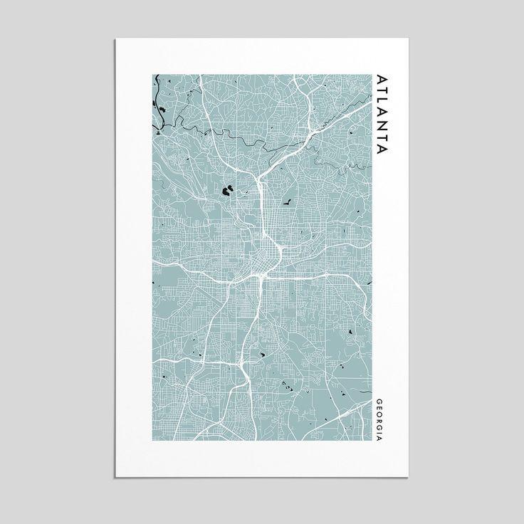Beautifully designed Atlanta city map. Printed on museum-quality, acid-free matte paper.