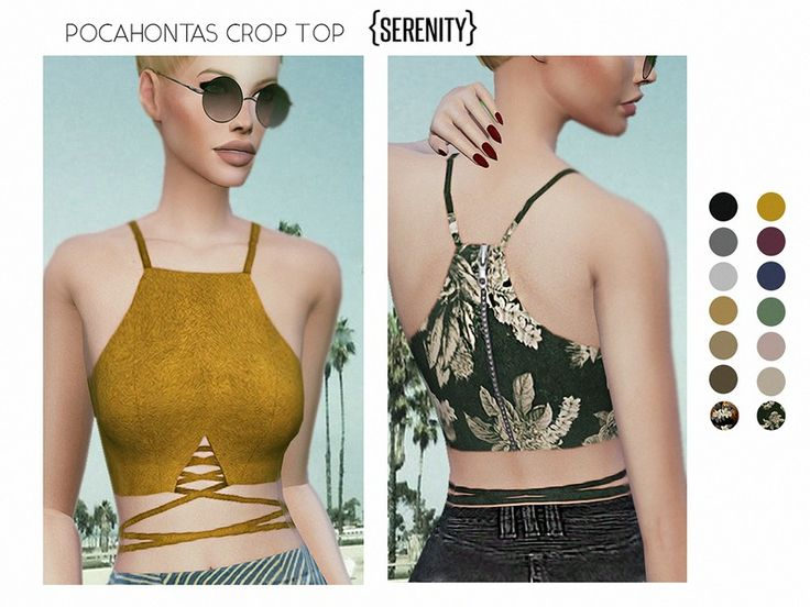 a beautiful suede crossed crop top inspired in the stunning character of disney pocahonta , a sexy and comfortable look for sunny days . Found in TSR Category 'Sims 4 Female Everyday'