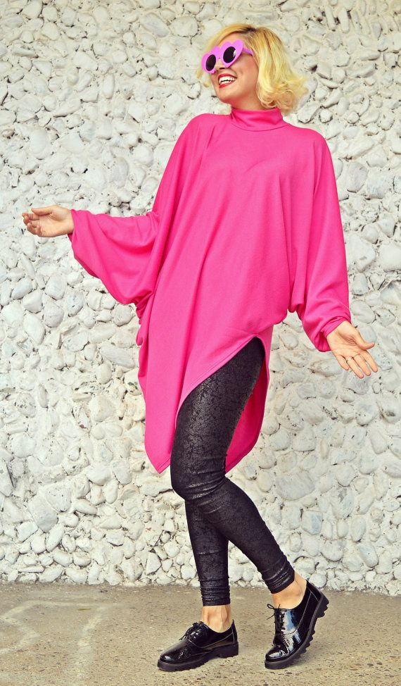 Funky Loose Pink Sweater / Extravagant Pink Top / Asymmetrical https://www.etsy.com/listing/472637768/funky-loose-pink-sweater-extravagant?utm_campaign=crowdfire&utm_content=crowdfire&utm_medium=social&utm_source=pinterest