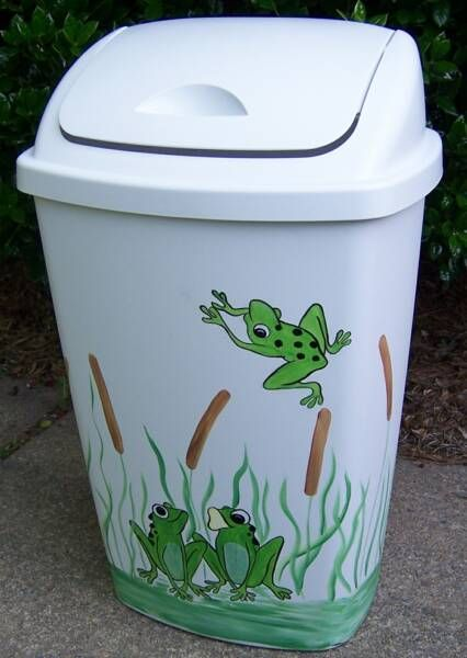 Frog Trash Can. Cute - this might be fun to try.