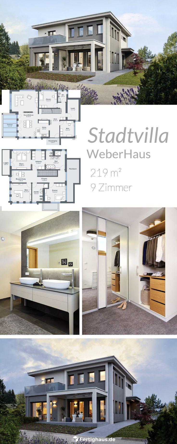 Eine moderne Stadtvilla mit klaren Linien von WeberHaus   Alle Infos zum Haus mit einem Klick auf das Bild erhalten. – Fertighaus.de   überdachte Ter…